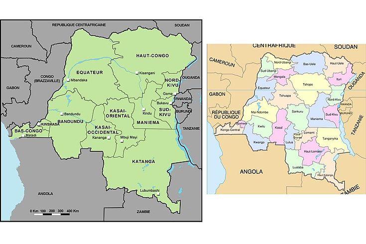 Cartes de la RD Congo avant et après découpage des provinces en 2015